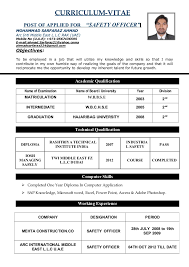 "safety officer cv doc doc curriculum vitae post of applied for ""safety officer"" mohammad sarfaraz ahmad arc intl"
