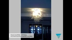 white snowflake art glass chandelier lighting fixture
