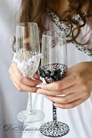 glass decorations for weddings. handmade lace black \u0026 white wedding champagne glasses/ bride and groom flutes glass decorations for weddings e