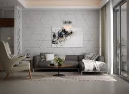 Trendy living room accent wall with geometric patterns