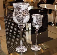 image is loading two tall large glass goblet hurricane candle holders