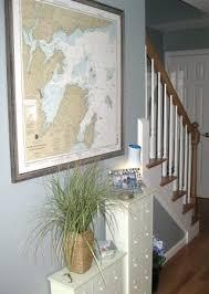 Framed Nautical Chart In Hallway Coastal Decorating