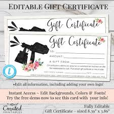 Gift Certificate Maker Free Enchanting Spray Tan Gift Certificate Editable Gift Certificate Etsy