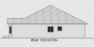 house rear elevation view for 10079 one level house plans side view house plans