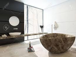 Moderne Marmoriert Badewanne In Einem Luxus Badezimmer Mit Schwarz