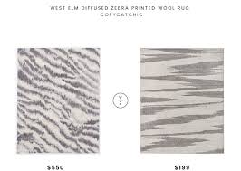 west elm diffused zebra printed wool rug 550 vs rivet modern zebra print rug 199 gray