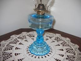 antique vintage kerosene light blue translusent colored glass oil lamp lighting item 270 for