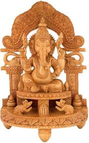 collectible india large lord wooden ganesha idol statue temple showpiece 32 5 cm