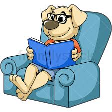 dog cartoon character reading book png jpg and vector eps infinitely scalable