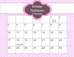 Printable Due Date Calendar Ba Shower Game Guess The Date Baby Girl