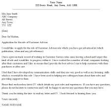 Cover Letter For A Customer Service Job Customer Adviser Cover Letter Example Icover Org Uk