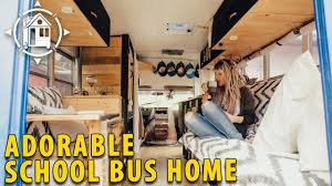 bus converted into shabby chic home on wheels