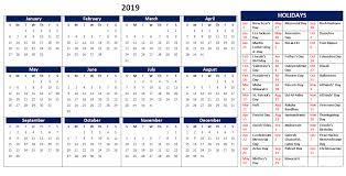 Calendar 2019 Printable With Holidays 2019 Calendar Printable Templates Word Excel Wallpapers