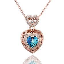 details about new 18k rose gold filled women s blue swarovski crystal heart pendant necklace