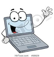 laptop clipart. royalty-free (rf) clipart illustration of a laptop guy waving and smiling #