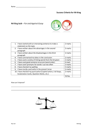 success criteria for writing an argumentative and an opinion essay  success criteria for writing an argumentative and an opinion essay by amandasmith80 teaching resources tes