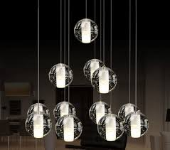 crystal glass ball droplight spiral stairs meteor chandelier lamp ceiling light