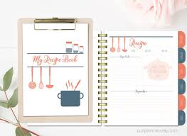 stylish printable recipe book c and navy binder blank recipe pages recipe organizer