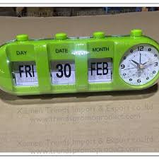 cylindrical decorative calendar vintage retro flip alarm clock for elderly flip desk table clock