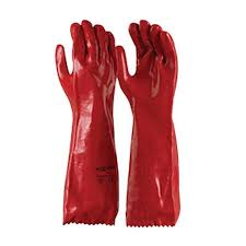 red pvc chemical resistant gauntlet