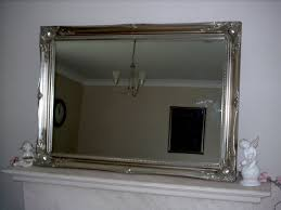 EXTRA LARGE SILVER Antique Style Wall Mirror - Size: 42 x 30 ...