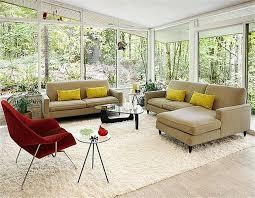 Mid Century Modern Living Room Design Grey Brown Velvet Sofa Having Cushion Cream Living Room Wall Small