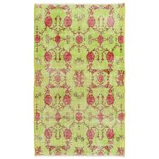 fl mid century turkish deco rug in lime green and rose color