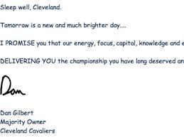 the cavaliers took down the insane ic sans letter owner dan gilbert wrote after lebron james left in 2010