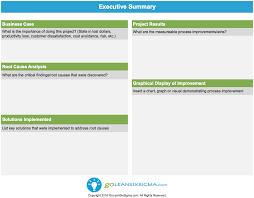 Executive Summary 1 1 Goleansixsigma Com Lean Six Sigma