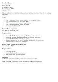 Line Cook Resume Example Examples Of Resumes
