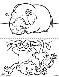First Pages Elephant And Monkey Coloring Page Crayolacom