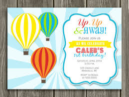 Balloon Birthday Invitations Printable Kids Hot Air Balloon Birthday Invitation Kids Birthday
