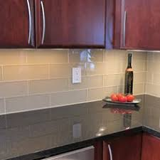 glass subway tile kitchen backsplash | Kitchen backsplash and bathroom tile  ideas with beige glass subway