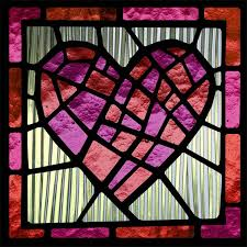 stained glass window red heart custom design custom print