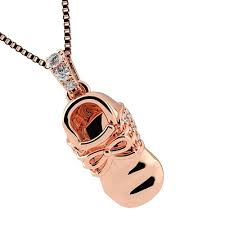 nana sterling silver baby shoe made with swarovski zirconia pendant necklace w 0 8mm 22 adj box chain rose gold plated com