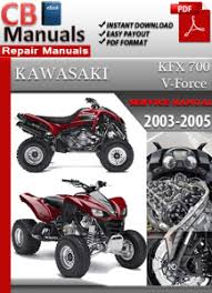 kawasaki kfx 700 v force 2003 2005 online service repair manual this highly detailed online service manual contains everything you will ever need to repair maintain rebuild refurbish or restore your vehicle