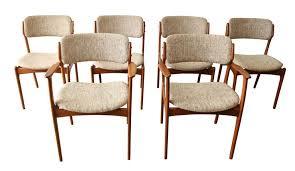 danish mid modern erik buck teak dining chairs 6 on chairish