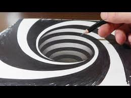drawing a spiral hole anamorphic trick art illusion you
