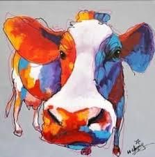Tableau vache multicolore pop art déco moderne - Peinture sur toile