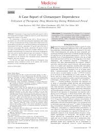 Pdf A Case Report Of Clonazepam Dependence