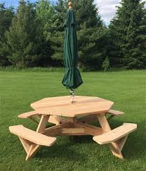 free on all beautiful western red cedar picnic tables octagon hexagon round square rectangular oval