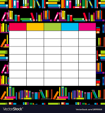 School Timetable Template With Books For Students