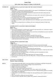 Resume For Sales Manager International Sales Manager Resume Samples