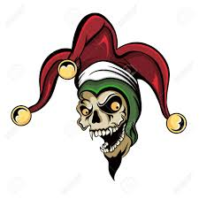 Fantasy Illustration Of A Laughing Angry Joker Vampire Zombie Skull Wearing A Clown Hat With Three Gold Bells