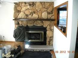 fireplace owner had inefficient older pre fabricated fireplace we replaced with new fireplace and new manufactured stone surround