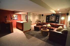 basement theater ideas. Basement Home Theater Design With Cozy Seating And Mini Bar Idea Ideas