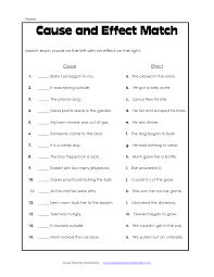 cause and effect worksheet reading comprehension cause and effect worksheet