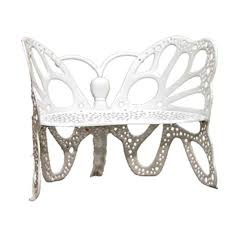 white metal furniture. white cast aluminum butterfly patio bench metal furniture