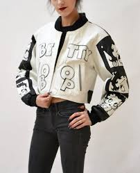 white leather er jacket with betty boop comics