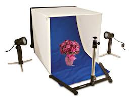 com polaroid table top portable photo studio light tent kit includes 1 tent 2 lights 1 tripod stand 1 carrying caes 4 backdrops black blue